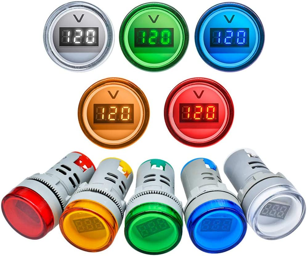 BouBou 3Pcs Verde 22Mm Ad16 Ad16-22Dsv Tipo AC 60-500V Mini Medidor De Voltaje Led Pantalla Digital Volt/ímetro De Ca Luz Indicadora//L/ámpara Piloto 110V 220V