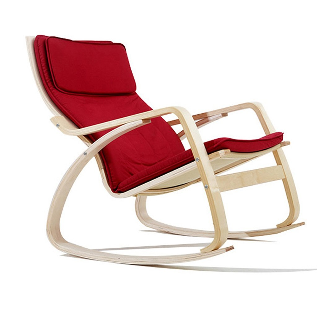 Amazon.com : XITER Red Wooden Rocking Chair Recliners Adult ...