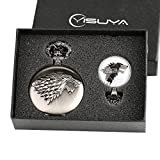 Game of Thrones Winter is Coming Pocket Watch Gift Set for Boys Men Cool 3D Wolf Clan Fob Watches with Glass Dome Pendant Necklace