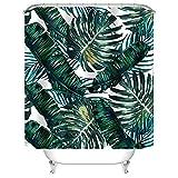 "kids bathroom ideas Uphome Palm Leaves Bathroom Shower Curtains, Customized Heavy-duty Polyester Fabric Kids Bathroom Curtains Ideas (72"" W x 72"" H, Palm)"