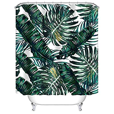 """Uphome Palm Leaves Bathroom Shower Curtains, Customized Heavy-duty Polyester Fabric Kids Bathroom Curtains Ideas (72"""" W x 72"""" H, Palm) -  - shower-curtains, bathroom-linens, bathroom - 61t5 9DhlEL. SS400  -"""