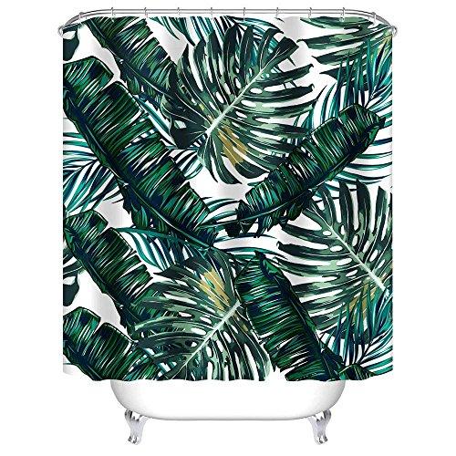 "Uphome Palm Leaves Bathroom Shower Curtains, Customized Heavy-duty Polyester Fabric Kids Bathroom Curtains Ideas (72"" W x 72"" H, Palm)"