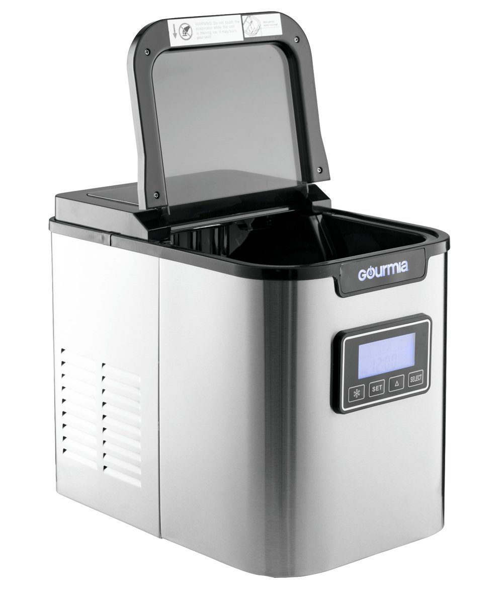 Gourmia GI500 Electric Ice Maker - Compact and Professional - Stainless Steel - 2 Quart Water Tank - Get Ice in as quick as 10 Minutes - Express Machine Can Make Over 26 lbs. Per Day