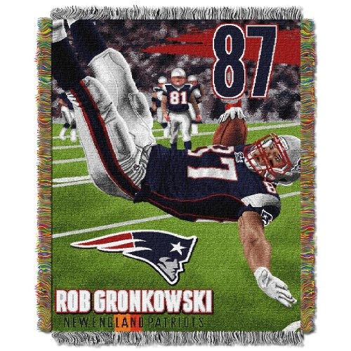 England New Patriots Tapestry (NFL New England Patriots Northwest Tapestry Rob Gronkowski Bed Comforter, 48 x 60-Inch, Team Color)