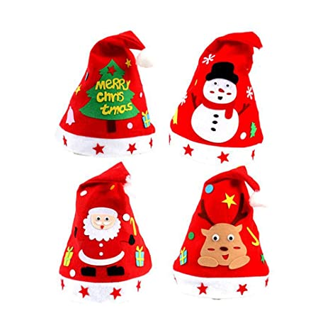 sfumature di scegli il più recente di prim'ordine BESTOYARD 4 Pezzi Cappello Natale Cappello di Babbo Natale ...