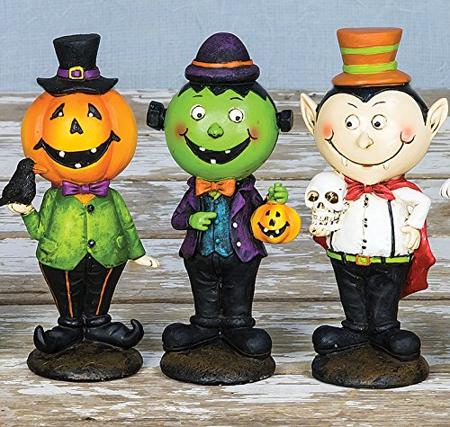 Colorful Halloween Character Figures - Standing Tabletop Decorations, Set of 3 (Pumpkin Set) - Small Frankenstein Decoration Display