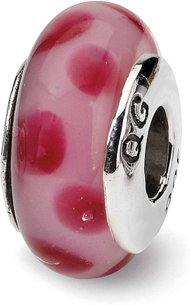 7.3mm x 13.6mm Solid 925 Sterling Silver Reflections Hand-Blown Glass Bead