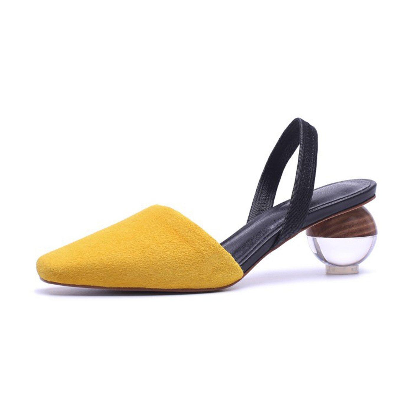 ZXMXY Damenschuhe Sommer Comfort Sandaleen Seltsame Kreative Ferse Spitzschuh Für Outdoor Weiß Gelb Sandaleen im Freien