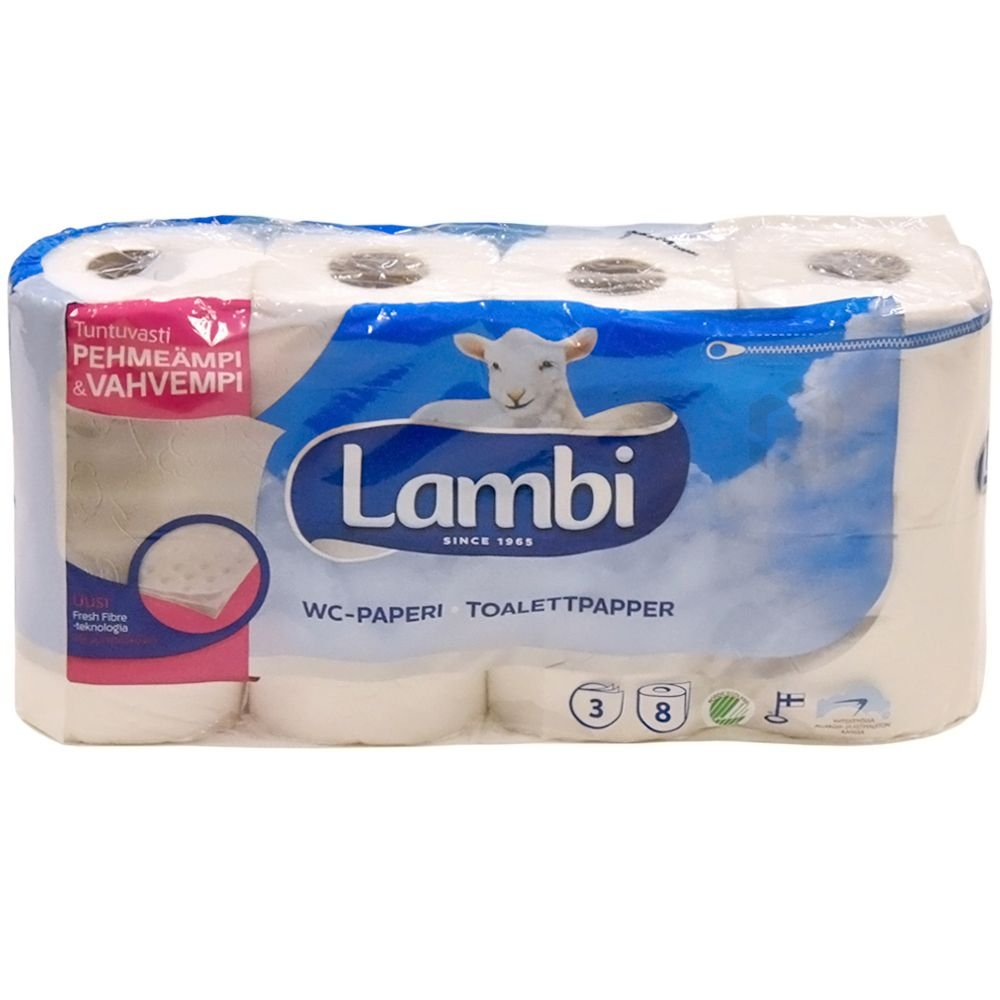 Lambi 3-layered toilet paper 10cm wide, 19,1m/roll