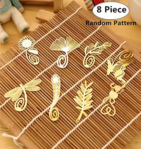 Magnoloran 8 Piece Vintage Golden Metal Bookmarks in Feather Butterfly Dragonfly Gingkgo Monkey Pred Perry Sunflower Olive Branch Shapes for Reading Stationery Office School Supplies ()