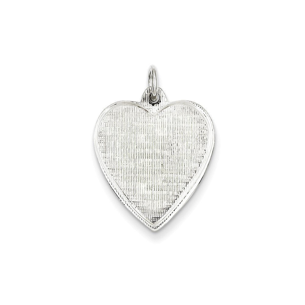 .925 Sterling Silver Engravable Heart Patterned Disc Charm Pendant