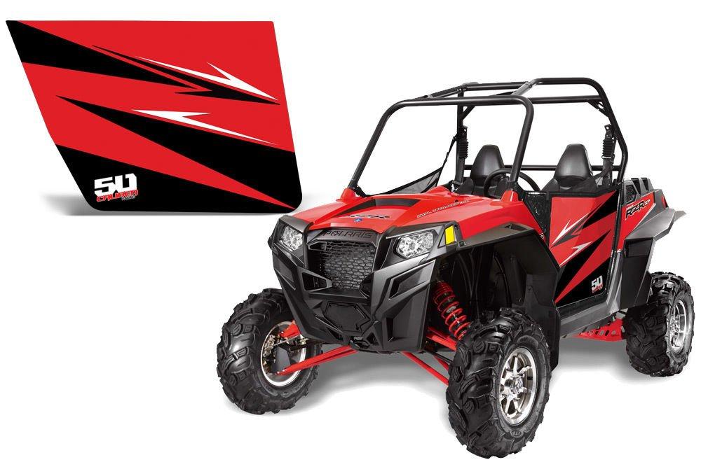 50 Caliber Racing Doors and Red Standard Graphics Kit Polaris RZR 570 800 RZR-S 800 900 XP900 [5353-A4]
