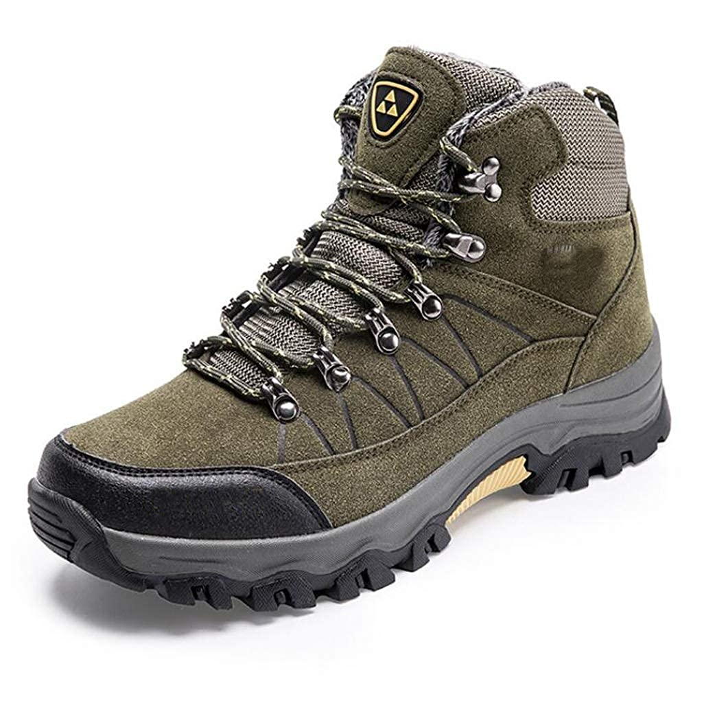 Green JBHURF Men's Outdoor Leather Hiking shoes Breathable Lightweight Sneaker for Walking Trekking