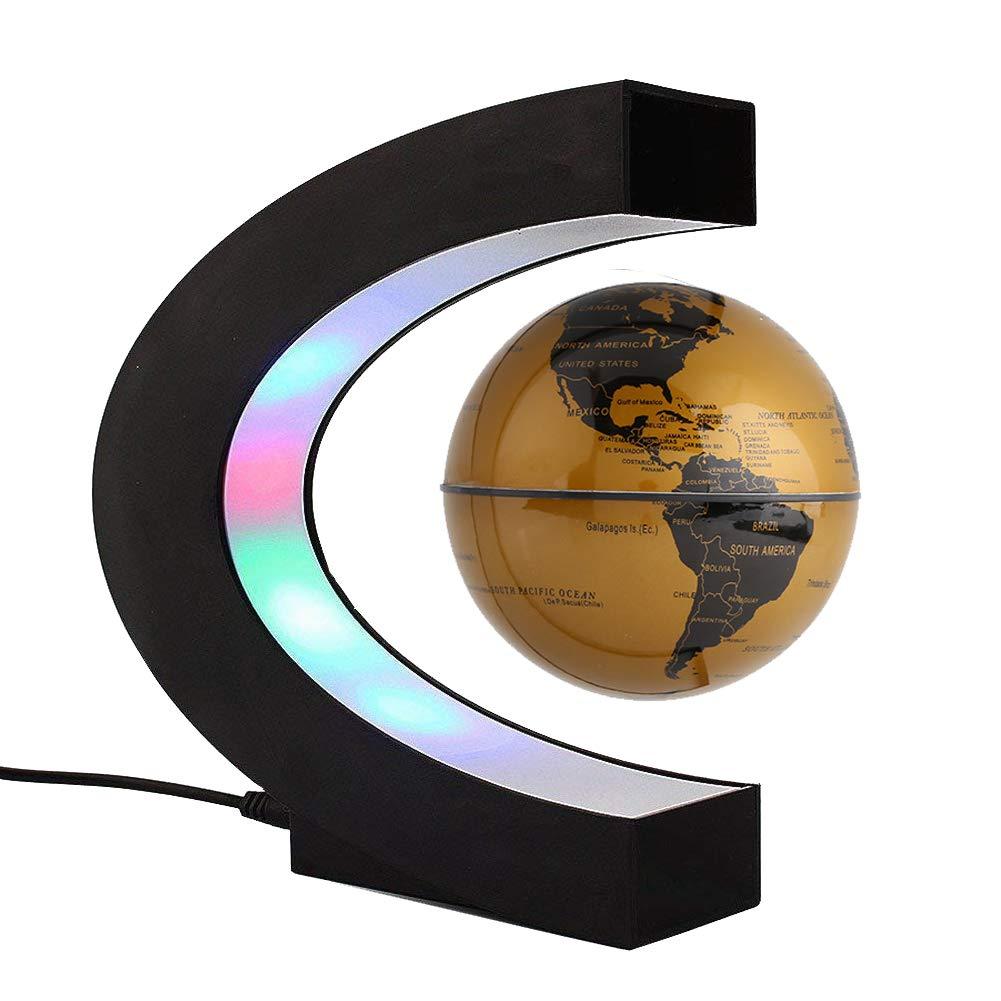 Bola magnética flotante, forma de C, globo plano LED giratorio horizontalmente suspendido en el aire, mapa mundial de 7.62 cm como decoración de escritorio, ...
