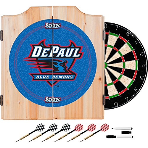 DePaul University Deluxe Solid Wood Cabinet Complete Dart Set - Officially Licensed! by TMG