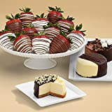 Sharis Berries - Dipped Cheesecake Trio & Full Dozen Swizzled Strawberries - 15 Count - Gourmet Baked Good Gifts