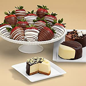 Shari's Berries - Dipped Cheesecake Trio and Full Dozen Swizzled Strawberries - 15 Count - Gourmet Baked Good Gifts - Great for Mother's Day