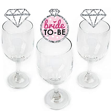 bride to be shaped bridal shower or classy bachelorette party wine glass markers