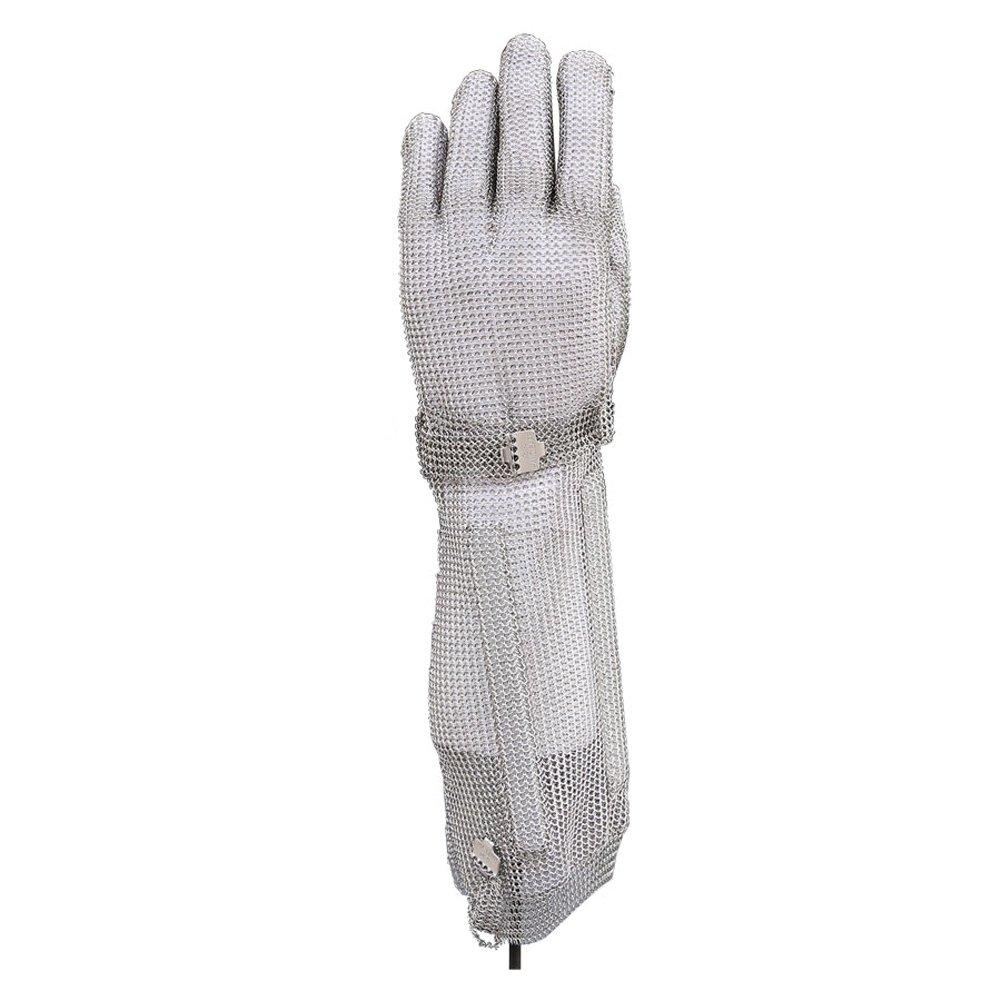 DLGLOBAL 19CM Long Steel Hook Gloves Cut Resistant Safety Work Gloves Stainless Steel Mesh Butcher Chain Mail Gloves L