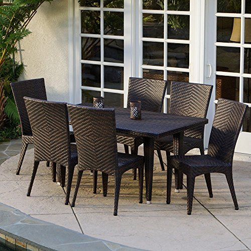 Brooke All-Weather Wicker Patio Dining Set - Seats 6 -  Christopher Knight Home, 232464