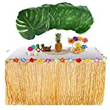 Awtlife Hawaiian Luau Table Skirt With 24 pcs Big Palm Leaves Tropical for Home Garden Table Decoration