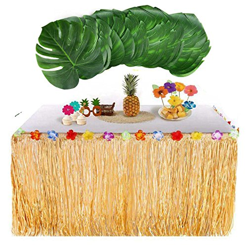 Awtlife Hawaiian Luau Table Skirt With 24 pcs Big Palm Leaves Tropical for Home Garden Table Decoration by Awtlife