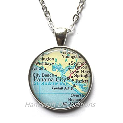 Map Of Panama City Beach Florida.Amazon Com Charming Necklace Panama City Florida Map Necklace
