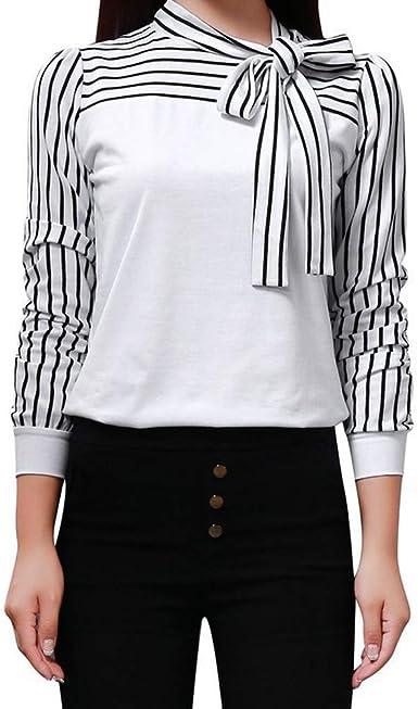 Camiseta Manga Larga de Mujer Elegante Moda Patchwork Arco Blusa Oficina Camisa Basica Camiseta Otoño Tops Casual Fiesta T-Shirt Original Chaqueta vpass: Amazon.es: Ropa y accesorios