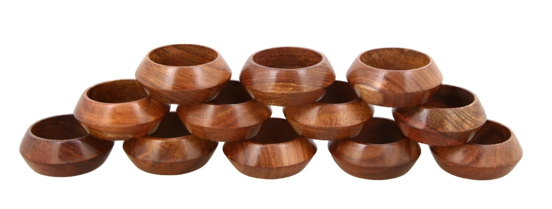 Shalinindia Artisan Crafted Dinner Table Decorations Wood Napkin Rings Set of 12 for Wedding Party