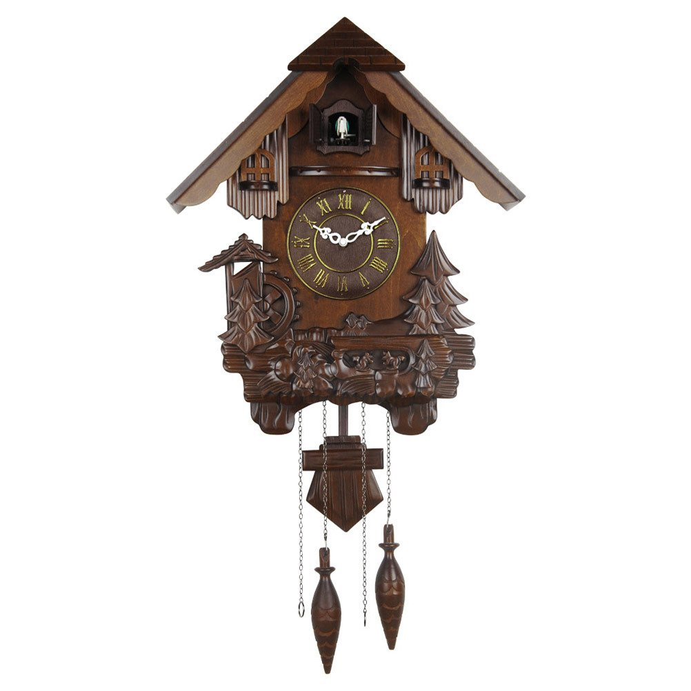 Hense Retro Pastoral house design hand crafted Brown Basswood Wooden Cuckoo Clock and ultra mute quartz movement cuckoo chime HP25