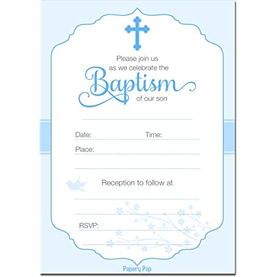 30 Baptism Invitations Boy with Envelopes (30 Pack) - Religious Christening Celebration Invites - Fill in Style: Toys & Games