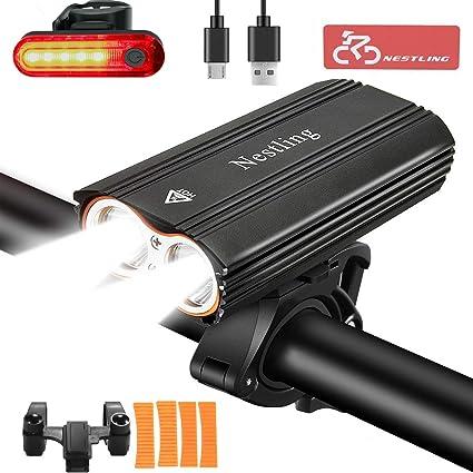 Nestling Luzde Bicicleta,Luz Bicicleta LED Recargable USB con 2400 ...