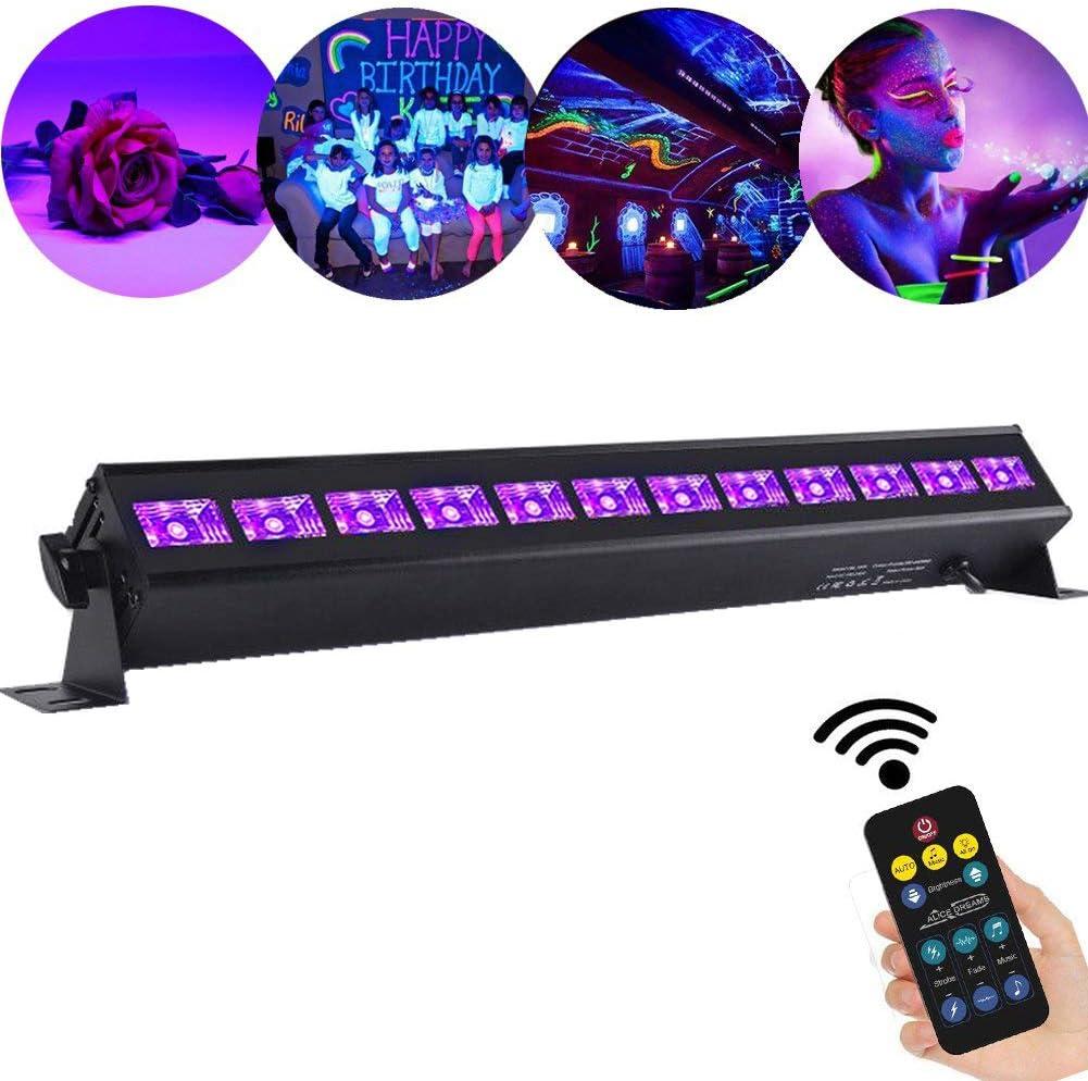 AONCO UV Luz Ultravioleta Barra 36W 12LEDs UV Etapa Par Luz Soporte de Sonido Automático DMX512 Master-Slave 8 Canales para Interiores KTV Pub Bar ...