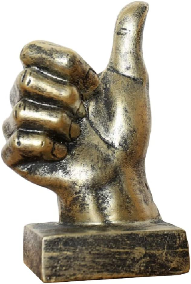 Creative Statues and Abstract Hand Sculptures for Home & Office Decor,Finger Signs Marks Figurines (Gold Thumbs Up)