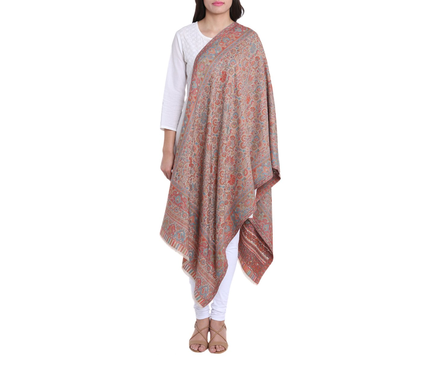 Antique Style Indian Outfits Woolen Kaani Scarf Floral Woven Design Fashion Accessory For Women 27X70 Inch 230 Grams