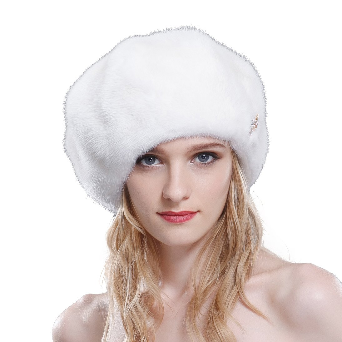 URSFUR Ladie's Mink Full Fur Beret Hats (One Size, White) by URSFUR