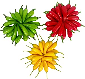 Lorigun 60Pcs Artificial Little Chili Simulation Pepper Mini Three-Colour (Red + Yellow + Green) Small Hot Pepper Lifelike Fake Vegetable Home Decor Each Color 20Pcs