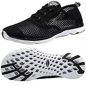 ALEADER Men's Quick Drying Aqua Water Shoes Black 12 D(M) US
