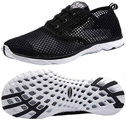 ALEADER Men's Quick Drying Aqua Water Shoes Black 10.5 D(M) US