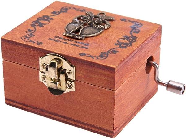 Demiawaking - Caja musical de madera estilo vintage con mecanismo de cuerda y manivela de mano, caja de música, reloj, bricolaje, regalo de Navidad, cumpleaños: Amazon.es: Hogar