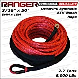 "Ranger 6,000 LBs 3/16"" x 50' Synthetic Winch Rope 5 MM x 15 M for ATV Winch"