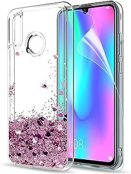 LeYi Funda Huawei P Smart 2019 / Honor 10 Lite Silicona Purpurina Carcasa con HD Protectores de