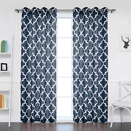 Best Home Fashion Oxford Basketweave Moroccan Print Curtains