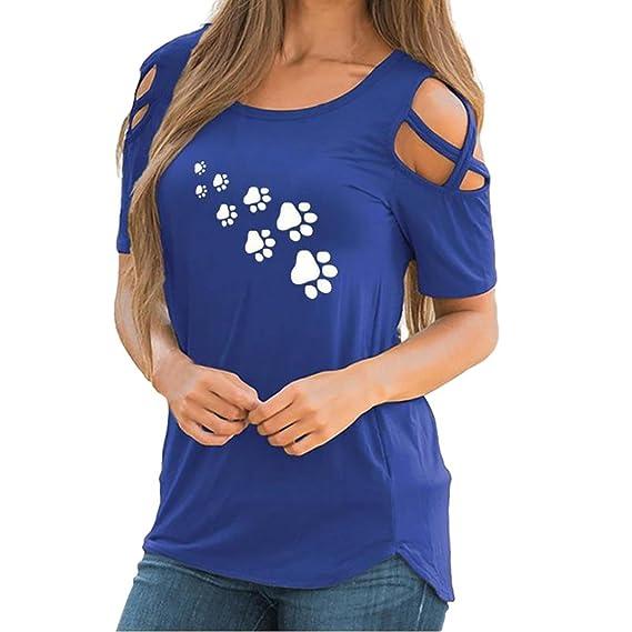 CICIYONER Camiseta Mujer Hombro Descubierto Blusas para Mujer Verano Tallas Grandes (L, Azul)