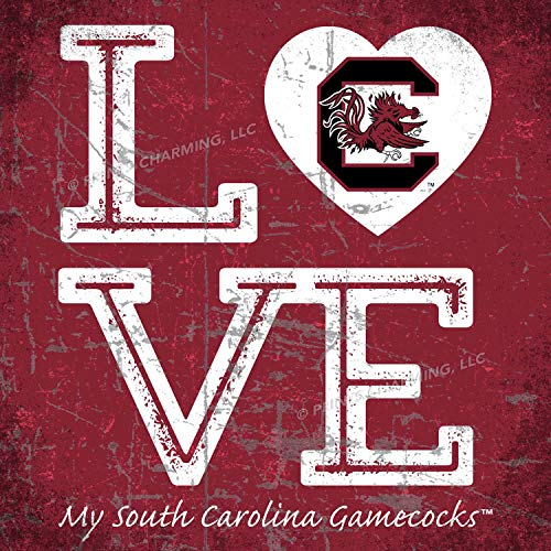 Prints Charming College Love My Team Logo in Heart Square Color South Carolina Gamecocks Unframed Poster 13x13 Inches ()