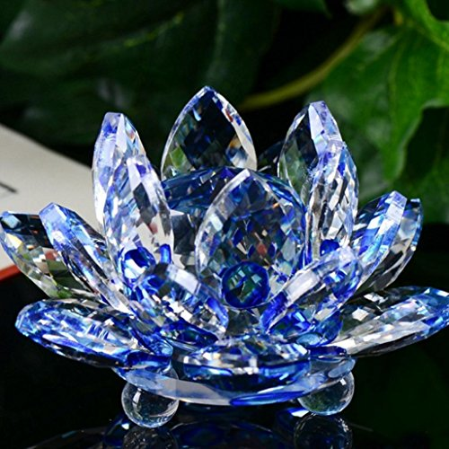 - Lotus Crystal Lotus Flower Tea Light Candle Holder, Decor Collection,Valentine's Day Decor Gifts,Tuscom (Blue)