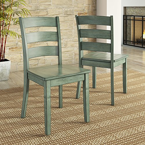 Lexington Ladder Back Dining Chair, Set of 2, Dark Sea Green (Ladder Back Chair Set)