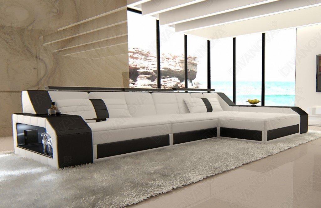 Divano Nero E Bianco : Divanova divano moderno antares angolare in similpelle bianco