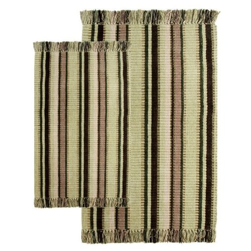 Chesapeake Silk Rug (Chesapeake 2-Piece Silked Ribbed Accent 21-Inch by 34-Inch and 27-Inch and 42-Inch Rug Set, Bay Leaf Multi)