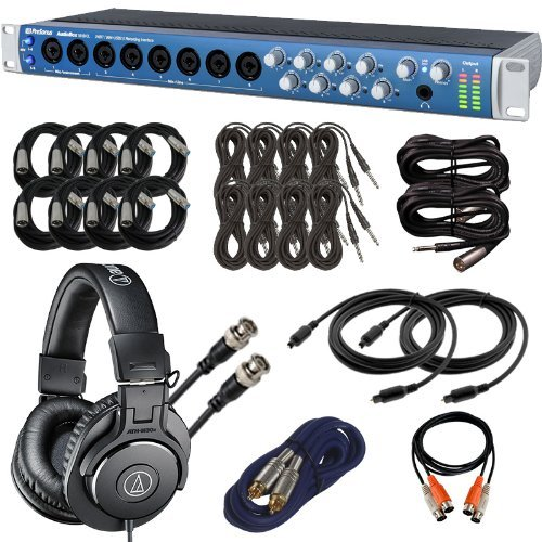 PreSonus AudioBox 1818VSL USB Audio Interface with ATH-M30x Headphones & Cables Bundle by PreSonus